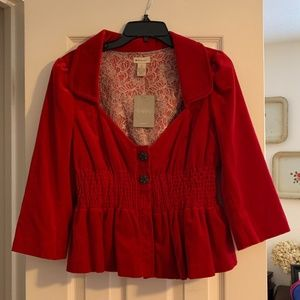 Anthropologie Red Jacket with Cinched Waist